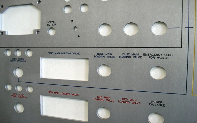 Routered and engraved control panel label