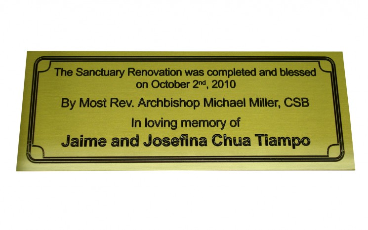 Satin brass engraved plaque