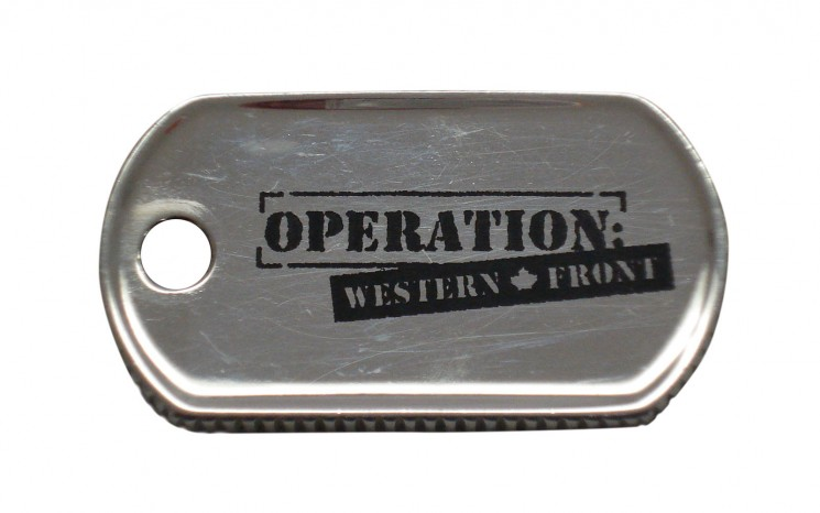 Laser etched stainless steel dogtag movie set prop