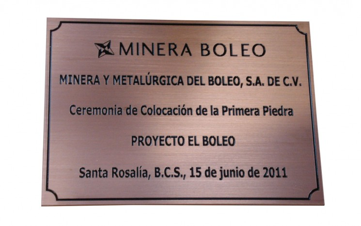 Hand brushed engraved copper plaque