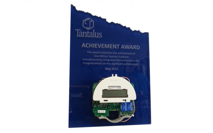 Routered acrylic with laser etched copy award