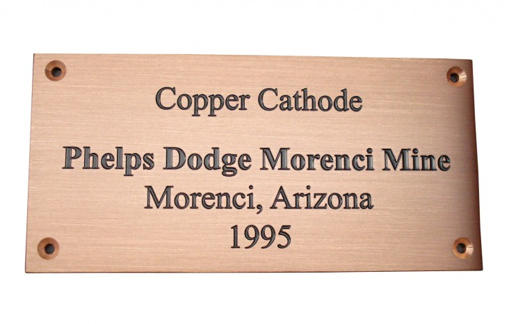 Engraved copper plaque