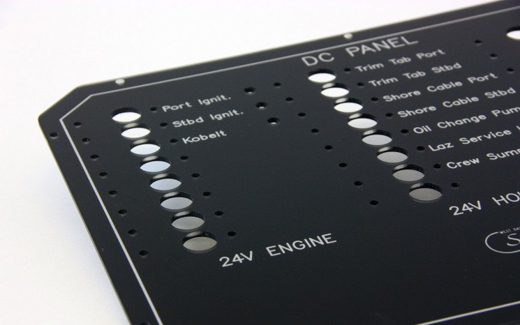 Reverse engraved with white in-fill paint control panel label
