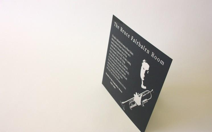Laser engraved black coated aluminum memorial plaque