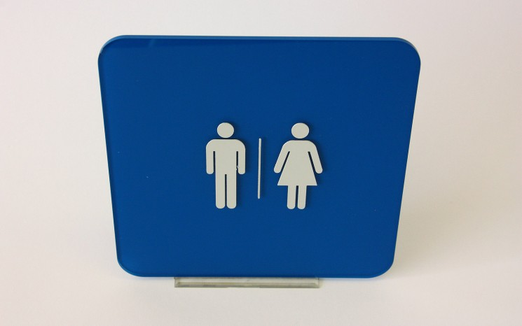 Raised tactile acrylic washroom symbols wayfinder/directional sign