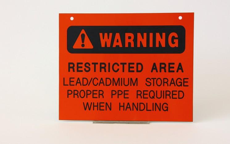 Laser engraved plastic warning directional sign