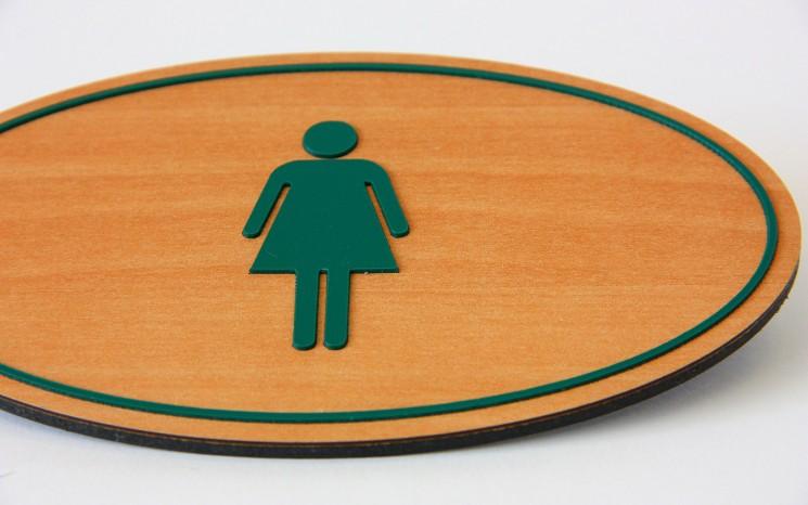 Raised tactile acrylic washroom symbols wayfinder/directional sign
