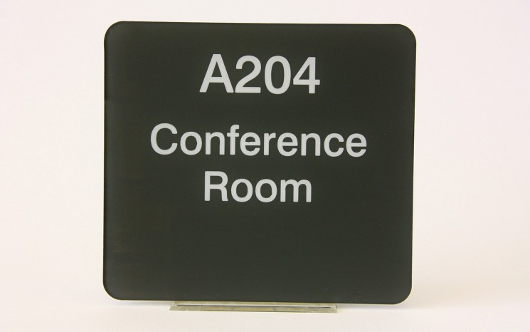 Back engraved acrylic wayfinder/directional sign