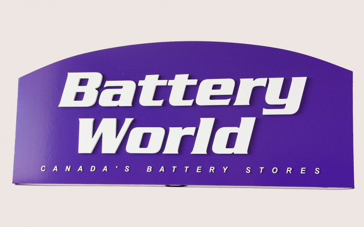 Battery World business sign with laser cut acrylic 3D lettering