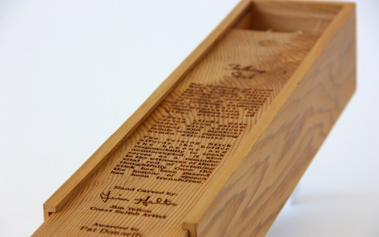 Laser engraved cedar wood award box