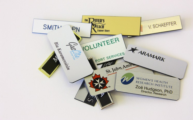 Name tags and parking passes