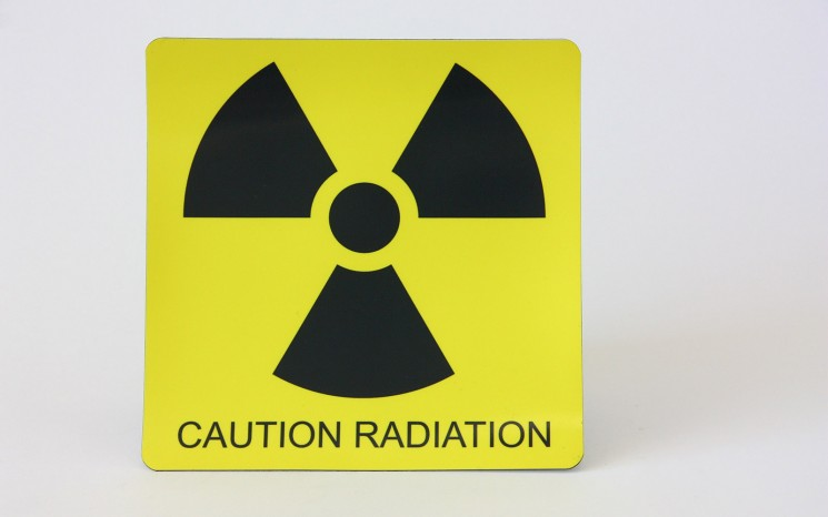 Laser engraved plastic caution sign