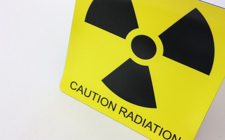 Laser engraved plastic caution sign