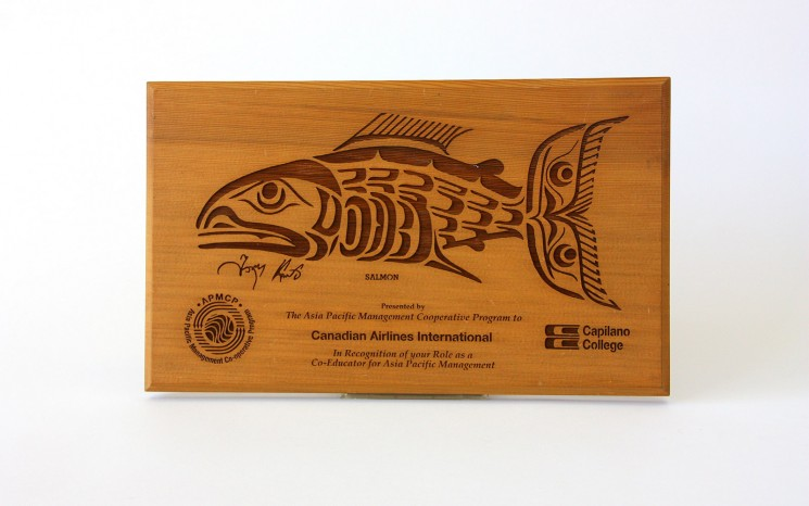 Laser etched graphics on western red cedar wood