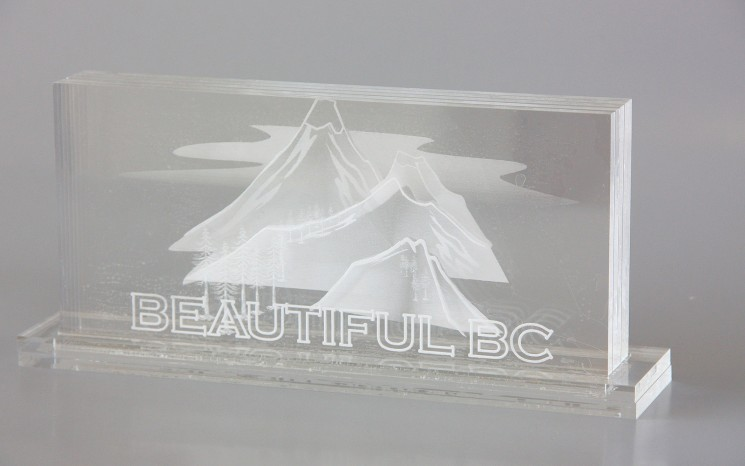 Laser etching on acrylic award
