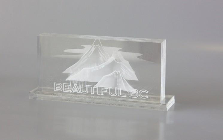 Laser etching on acrylic award