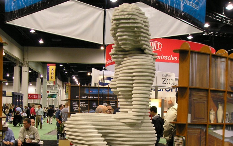 Routered Corian sculpted mermaid trade show sign