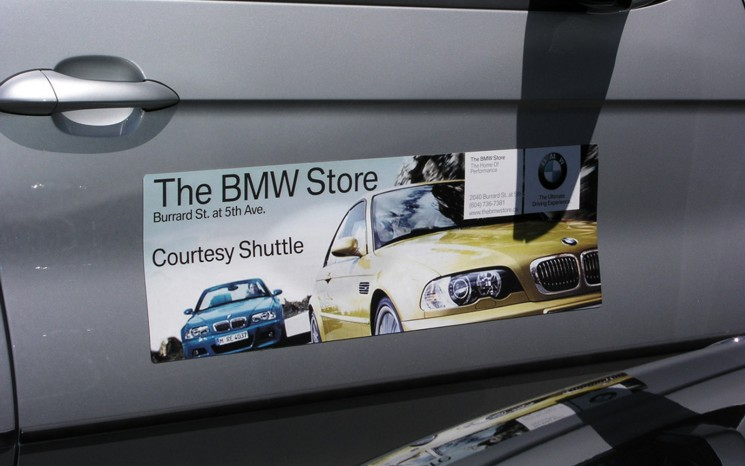Full colour diecut vehicle graphics magnet The BMW Store