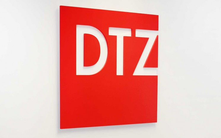 Half inch acrylic reception sign painted corporate red