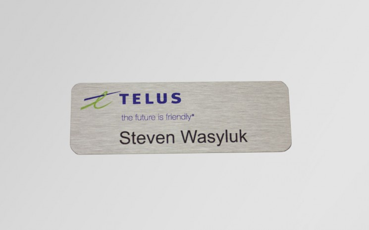 UV print on satin aluminum name tag