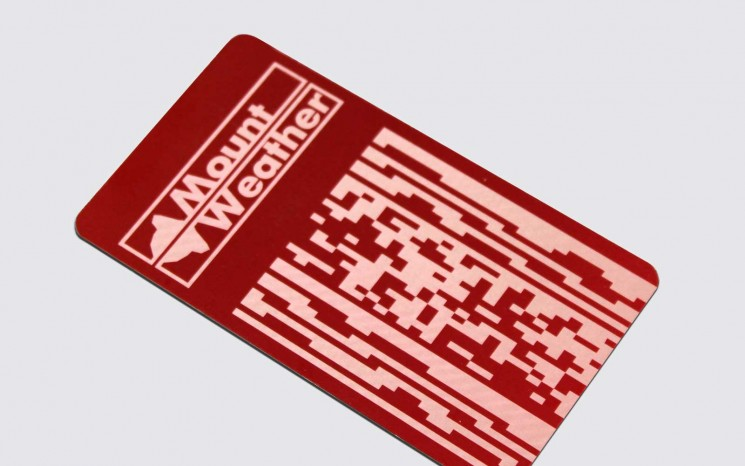 Anodized aluminum access card with laser etching