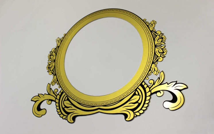 Diecut gold anodized alumamark picture frame with black laser etched graphics